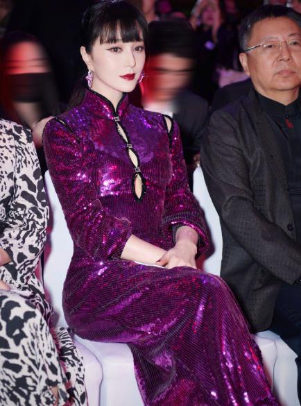 范冰冰大胆挑战紫色开叉裙,霸气模样却不存在 明星搭配 第5张