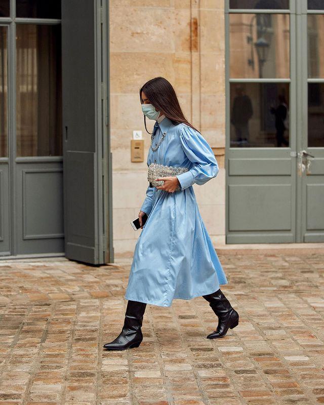"""欧美街拍:今夏自带可爱滤镜的""""蓬袖洋装"""",欧美潮人已抢先穿上 街拍潮人 第3张"""